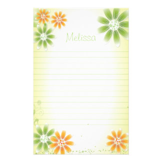 """Tropical Flowers 5.5"""" x 8.5"""" Stationery"""