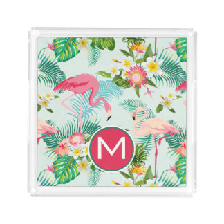 Tropical Flowers And Birds | Add Your Initial