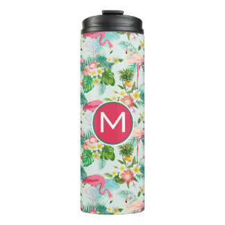 Tropical Flowers And Birds | Add Your Initial Thermal Tumbler