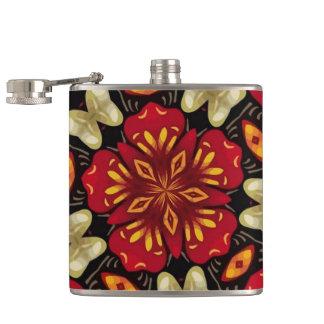 Tropical Flowers And Butterflies Mandala Hip Flask