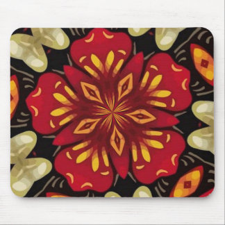 Tropical Flowers And Butterflies Mandala Mouse Pad
