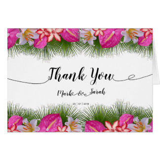 Tropical Flowers and Leaves Calligraphy Thank You Card