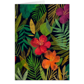 Tropical Flowers and Leaves Card