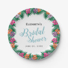 Tropical Flowers and Palm Branches Bridal Shower Paper Plate