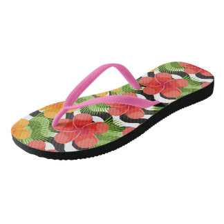 Tropical flowers and skin are animal. Summer patte Thongs