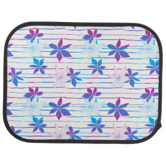 Tropical flowers and stripes car mat