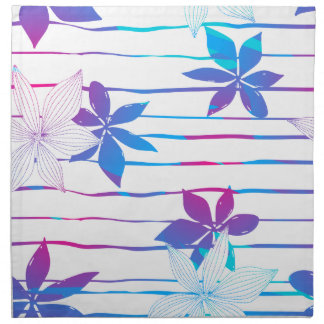 Tropical flowers and stripes napkin