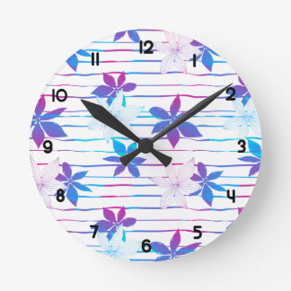 Tropical flowers and stripes round clock