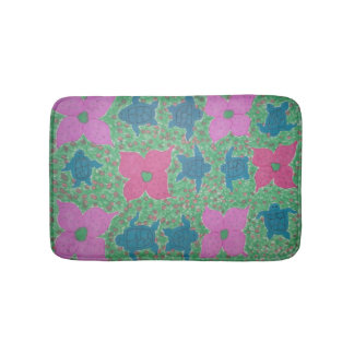 Tropical Flowers and Turtles Bath Mat