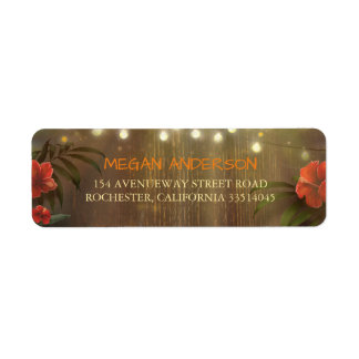 Tropical Flowers Beach String Lights Wedding Return Address Label
