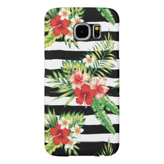 Tropical Flowers & Black & White Stripes Pattern Samsung Galaxy S6 Cases