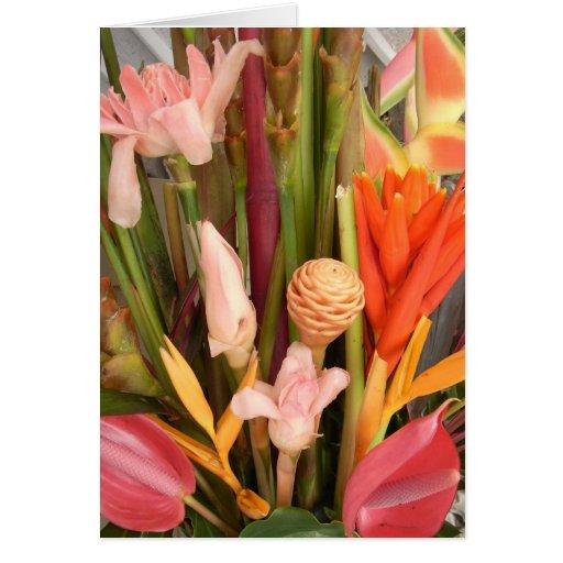 Tropical flowers - Blank Card