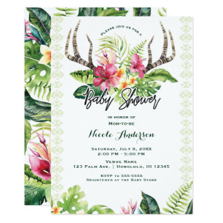 Tropical Flowers Boho Rustic Antler Baby Shower Card
