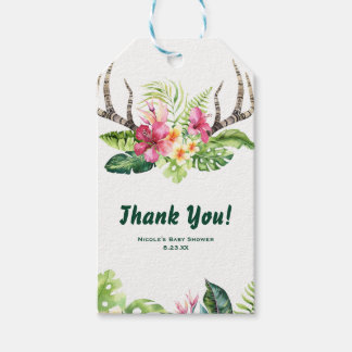Tropical Flowers Boho Rustic Antlers Bridal Shower Gift Tags