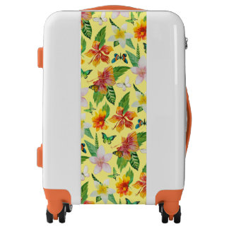 Tropical Flowers & Butterflies pattern Luggage