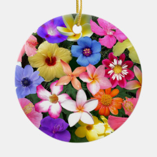 Tropical Flowers Ceramic Ornament
