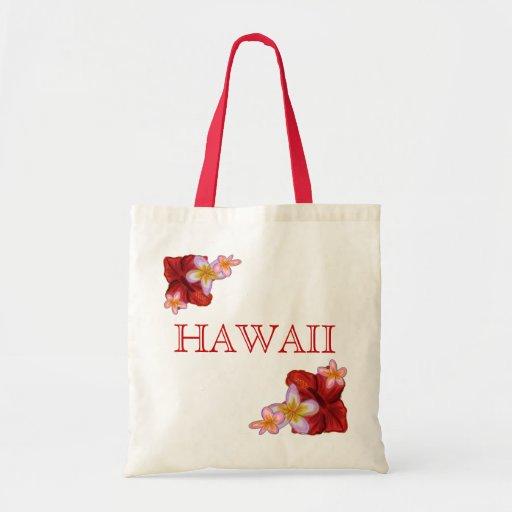 Tropical flowers Hawaii reusable bag