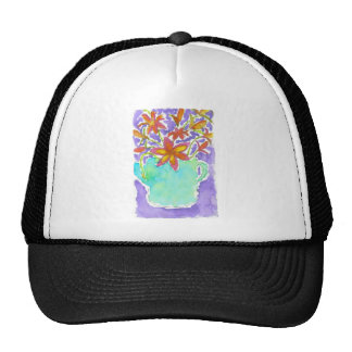 Tropical Flowers in Blue Pitcher Cap