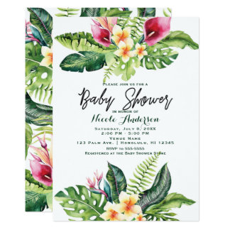 Tropical Flowers & Leaves Floral Baby Shower Card