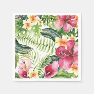 Tropical Flowers Leaves Floral Bridal Shower Party Paper Napkin