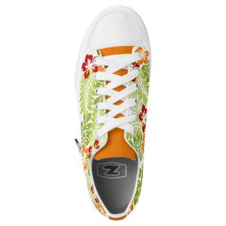 Tropical Flowers Leaves Orange Tongue Sneakers
