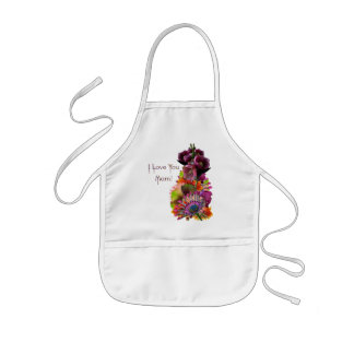 Tropical Flowers Mother's Day Bouquet Kids Apron