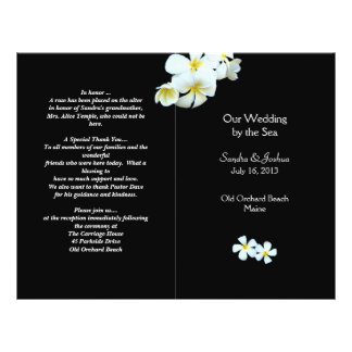 Tropical Flowers on Black Wedding Program Template Flyer