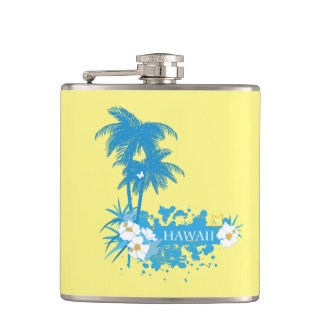 Tropical flowers, palms on a beach illustration flask