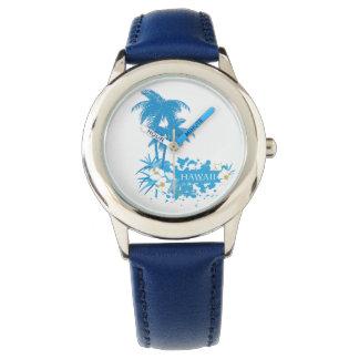 Tropical flowers, palms on a beach illustration wrist watch