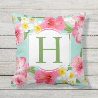Tropical Flowers Pattern | Monogram Outdoor Cushion