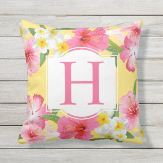 Tropical Flowers Pattern | Monogram Throw Pillow