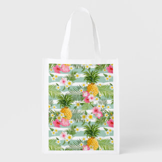 Tropical Flowers & Pineapple On Teal Stripes Reusable Grocery Bag