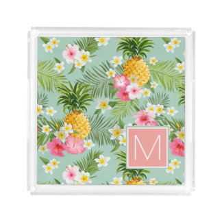 Tropical Flowers & Pineapples | Add Your Initial