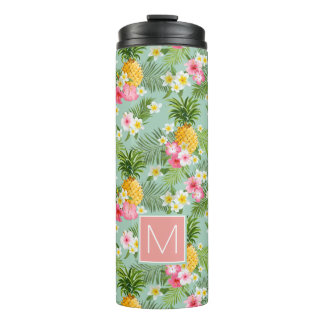 Tropical Flowers & Pineapples | Add Your Initial Thermal Tumbler