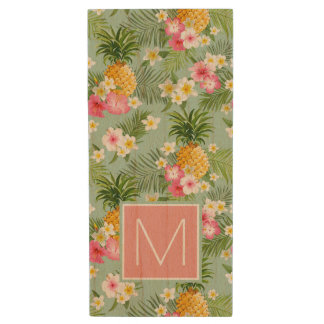 Tropical Flowers & Pineapples | Add Your Initial Wood USB 2.0 Flash Drive