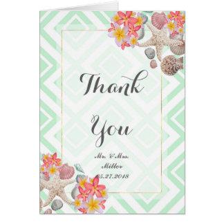 Tropical flowers seashells geometric wedding art card