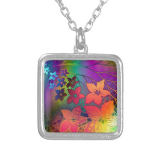 Tropical Flowers Silver Plated Necklace