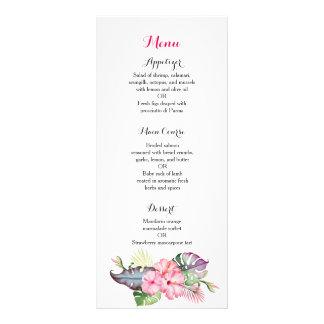 Tropical flowers wedding reception dinner menu customized rack card