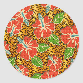 Tropical Flowers Wild Tiger Pattern Classic Round Sticker