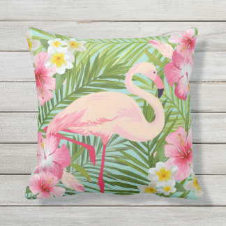 Tropical Flowers with Pink Flamingo Outdoor Cushion