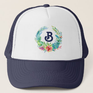Tropical Flowers Wreath Monogram Trucker Hat