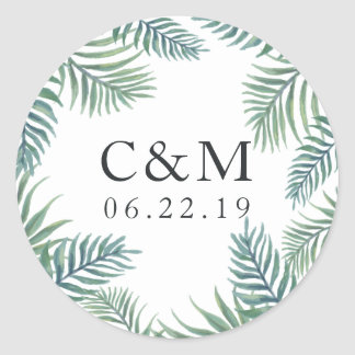 Tropical Foliage Wedding Monogram Classic Round Sticker