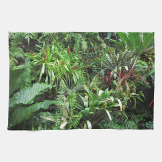 Tropical Forest Flora Background Hand Towels