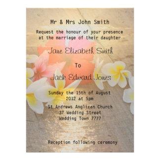 Tropical Frangipani Beach Wedding Invitations
