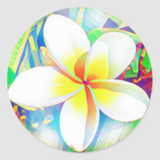 Tropical frangipani classic round sticker