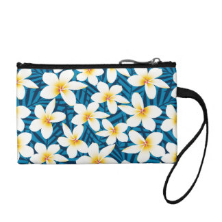 Tropical frangipani flowers coin purse