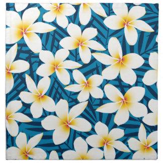 Tropical frangipani flowers napkin