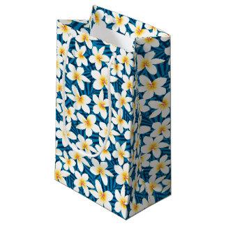 Tropical frangipani flowers small gift bag