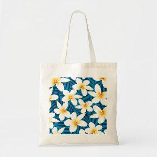 Tropical frangipani flowers tote bag