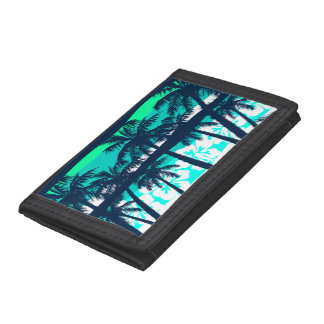Tropical frangipani with palms trifold wallets